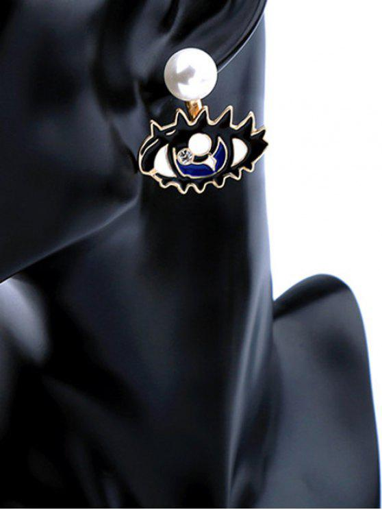 trendy Detachable Artificial Diamond Pearl Eye Stud Earrings - BLUE