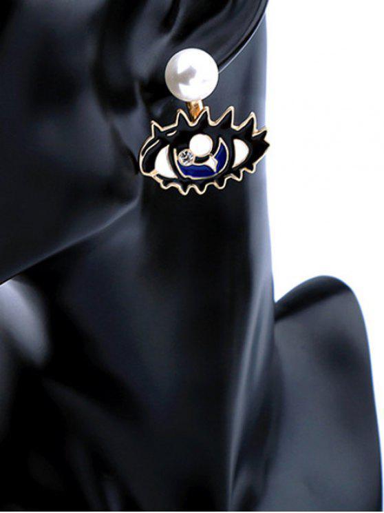 Pendientes de los ojos de la perla del diamante artificial desmontable - Azul