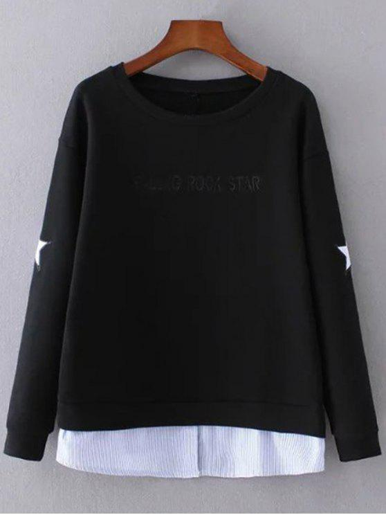 shops Star Pattern Layered Hem Sweatshirt - BLACK M