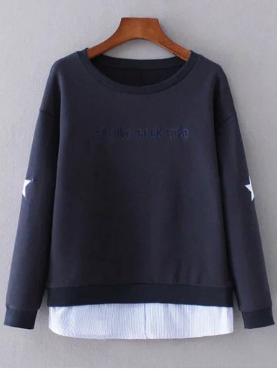 fancy Star Pattern Layered Hem Sweatshirt - PURPLISH BLUE L
