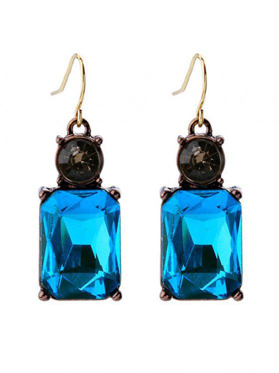 fashion Square Faux Crystal Rhinestone Drop Earrings - BLUE