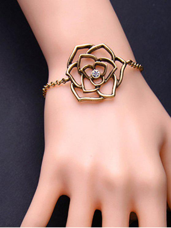 La flor del metal de filigrana ajustable pulsera del encanto - Enfriador de cobre
