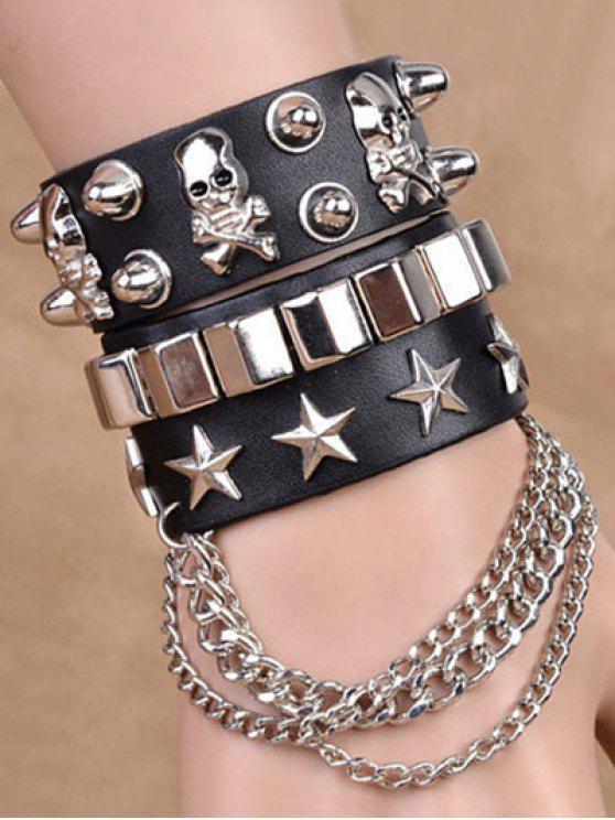 Cadenas de la estrella del cráneo del remache de las pulseras dobles - Negro