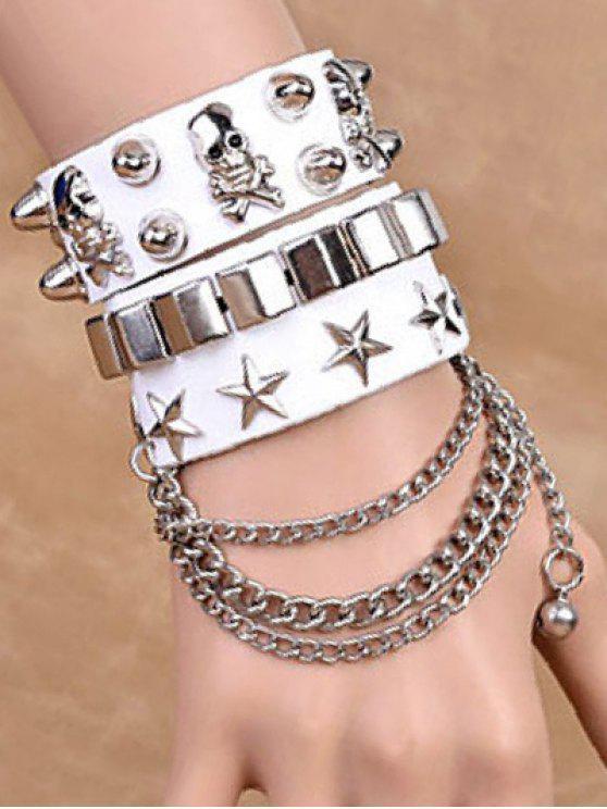 Cadenas de la estrella del cráneo del remache de las pulseras dobles - Blanco