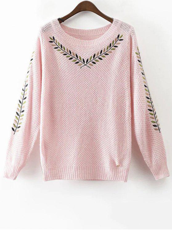 Hoja suéter bordado - Rosa M