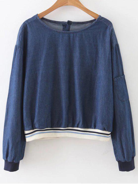 shops Button Back Denim Blouse - BLUE S
