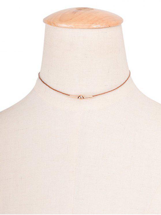 Cuerda de la vendimia collar de cobre Gargantilla del grano - Marrón