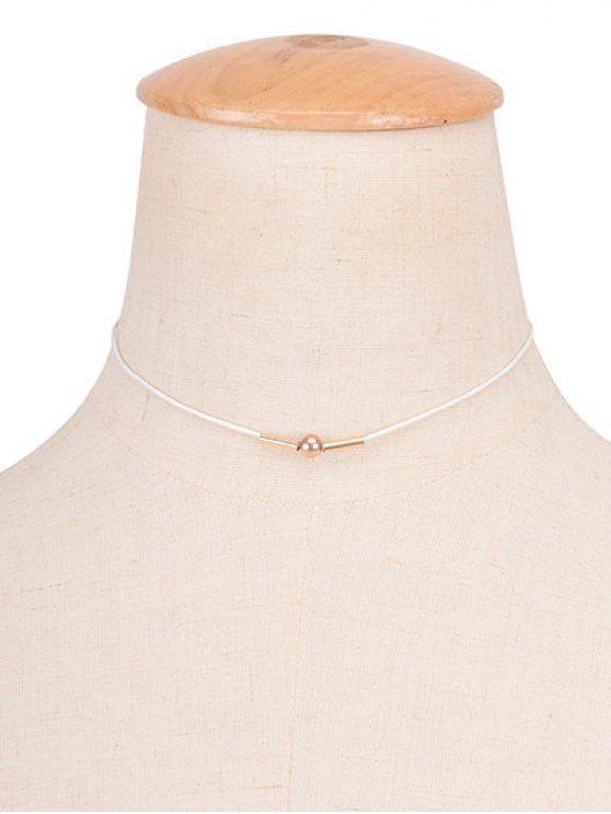 Cuerda de la vendimia collar de cobre Gargantilla del grano - Blanco