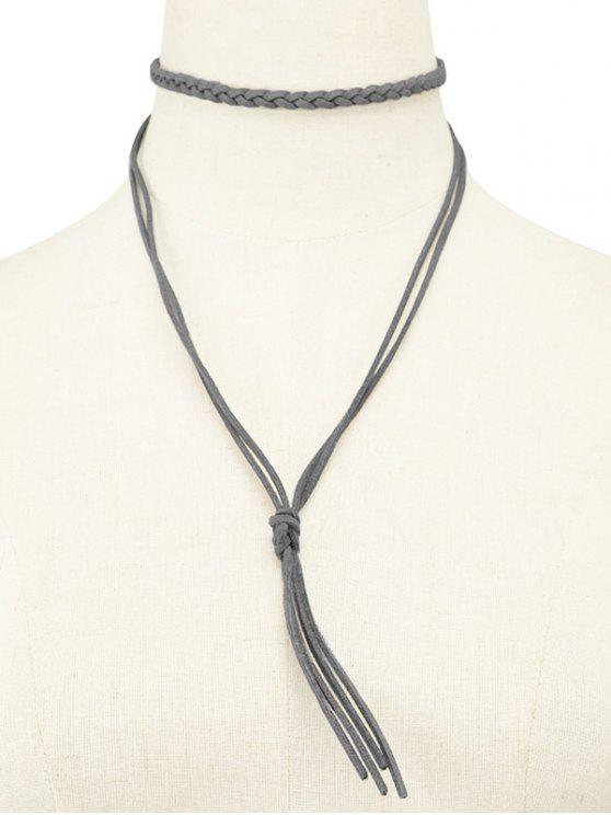 Faux cuero de la cuerda de la borla de Gargantilla tejida - Gris