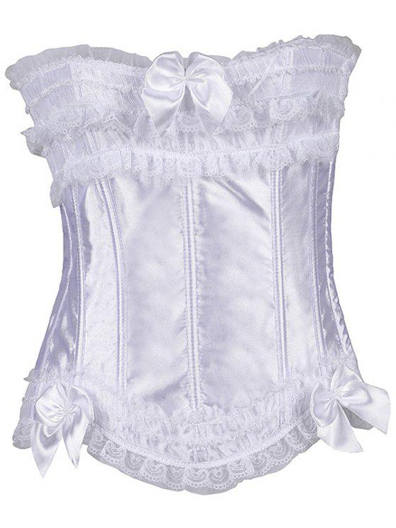 outfits Slimming Bowknot Waist Lace Up Corset - WHITE M