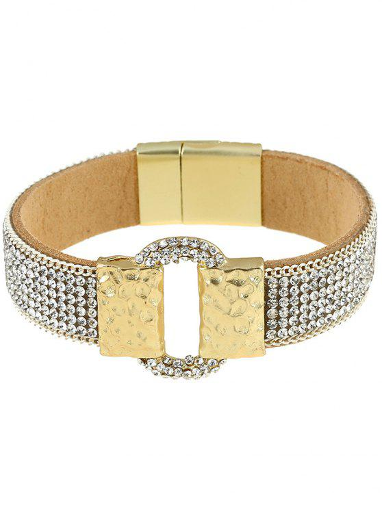 Bracelet en alliage Brief en cuir strass artificielle - SILVER