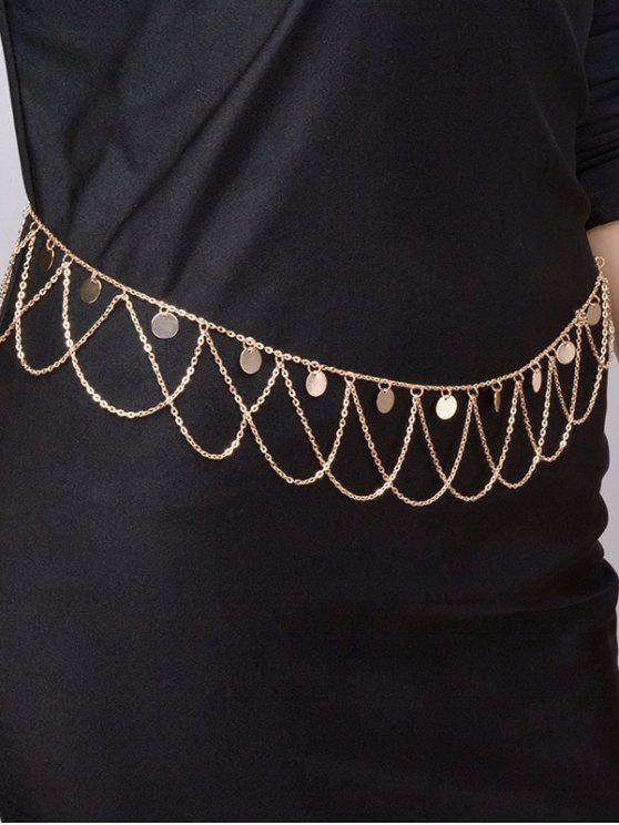 Round Belly Chain Paillettes Tassel Vague - Or