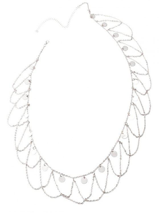 affordable Round Sequins Tassel Wave Belly Chain - SILVER