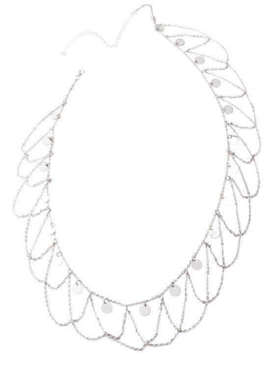 Round Belly Chain Paillettes Tassel Vague - Argent
