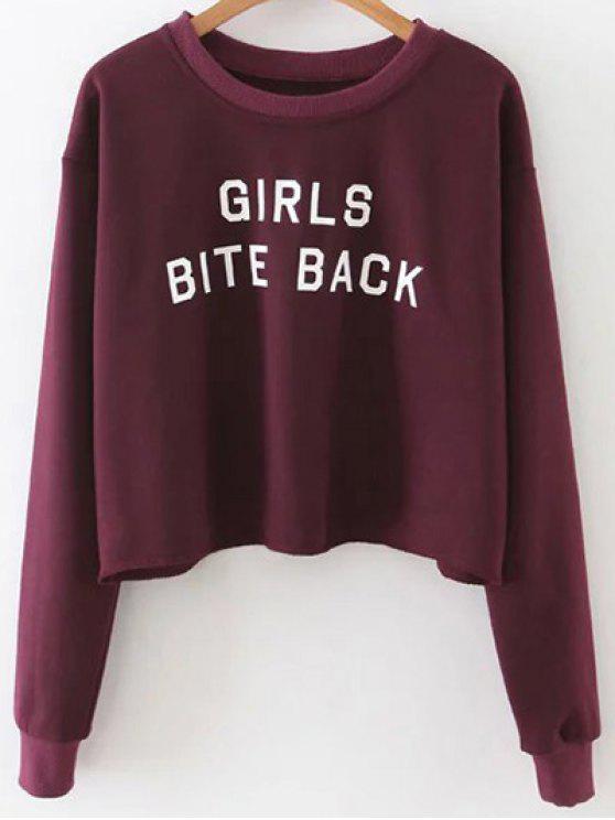 ladies Letter Print Crop Sweatshirt - WINE RED M