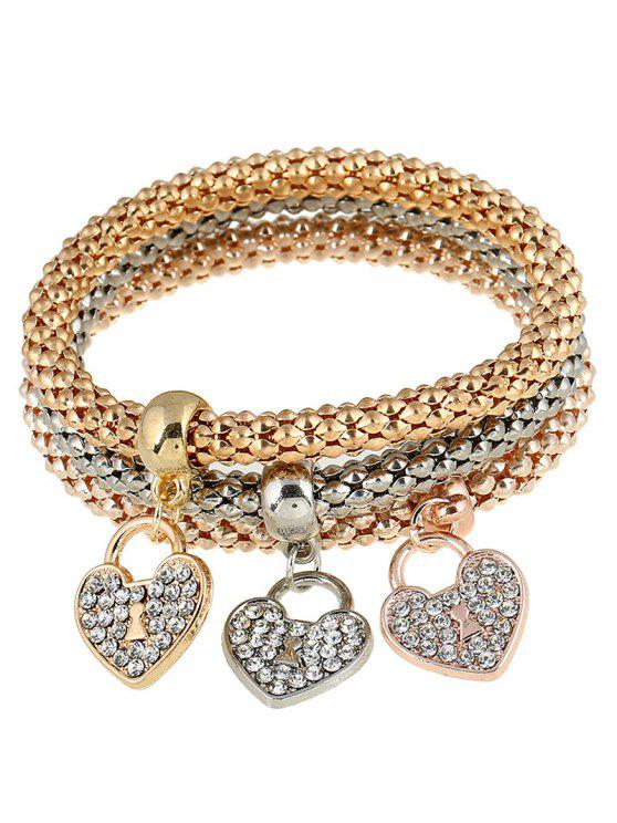 fancy 3 PCS Rhinestoned Love Heart Bracelets - GOLDEN