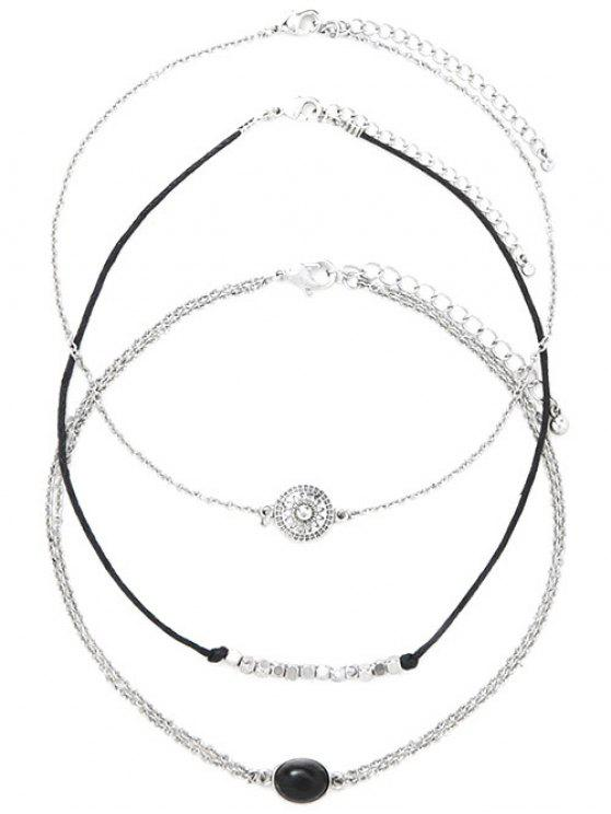 latest Alloy Engraved Sun Oval Beaded Chokers - SILVER