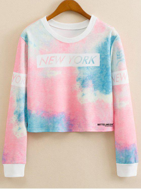 new Letter Print Tie-Dyed Sweatshirt - COLORMIX L