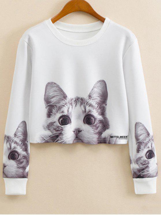 best Cartoon Cat Print Jewel Neck Sweatshirt - WHITE S