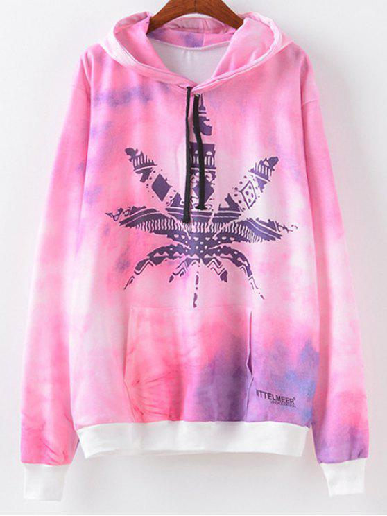 hot Maple Leaf Print Hoodie - MAPLE PATTERN M
