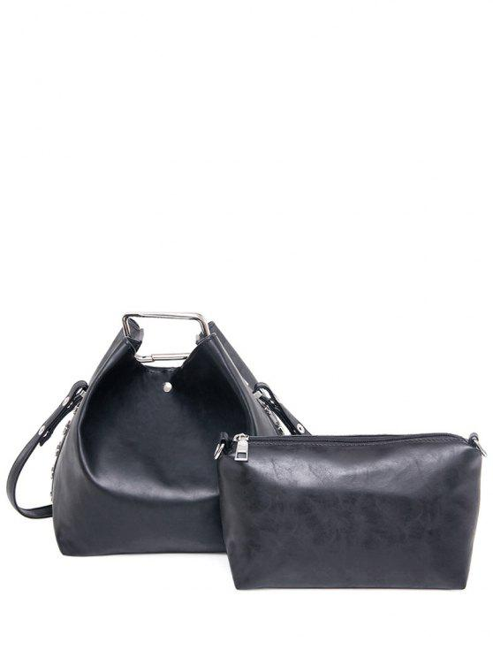 buy Magnetic PU Leather Metal Shoulder Bag - BLACK