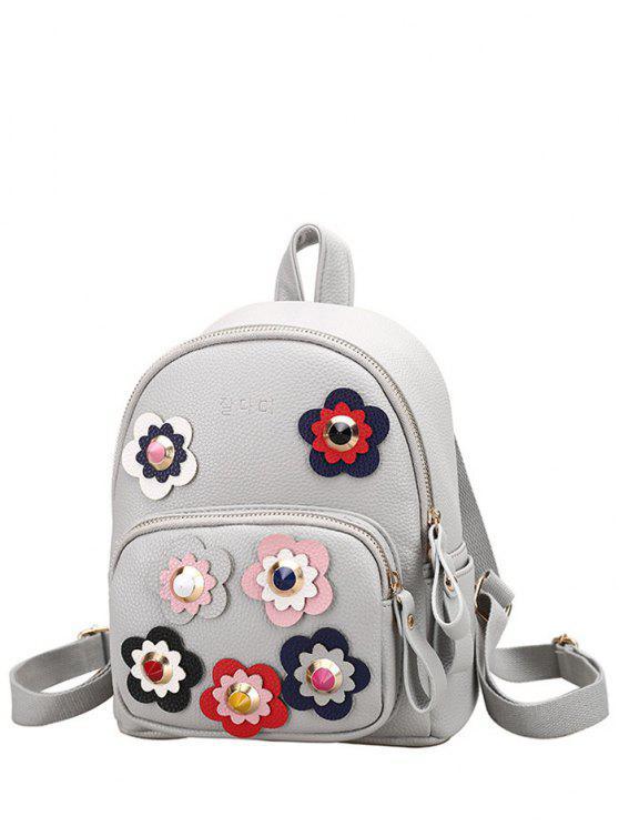 sale Flowers Color Block Rivets Backpack - LIGHT GRAY
