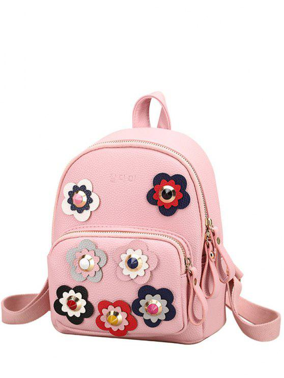 affordable Flowers Color Block Rivets Backpack - PINK