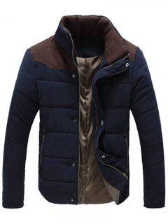 Manteau Matelassé Avec Blocs De Couleur à Fermeture Éclair Et Boutons De Pression Col Montant Pour Hommes  - Bleu Violet M