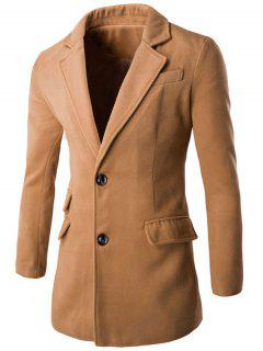 Retour Manteau Vent Pocket Design Notch Lapel - Kaki M