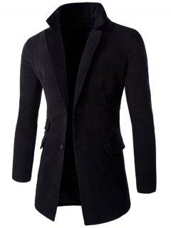 Back Vent Pocket Design Notch Lapel Coat - Black 2xl