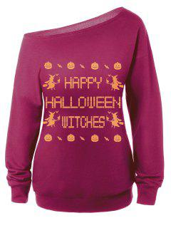 Witches Halloween Sweatshirt - Purplish Red S