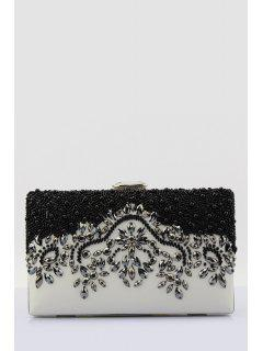 Beading Color Splice Evening Bag - White And Black