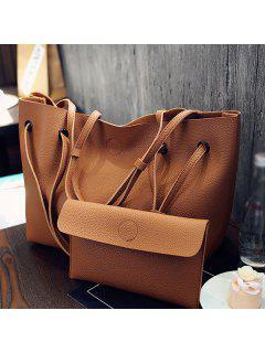 Magnetic Textured Leather Shoulder Bag - Brown