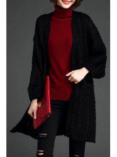 Cable Knit Longline Cardigan - Black
