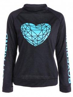 Heart Pattern Sweatshirt - Black Xl