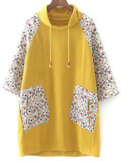 Loose Raglan Sleeve Sweatshirt - Yellow 3xl