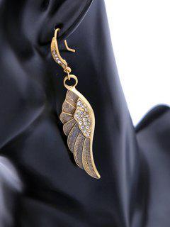 Wings Rhinestone Drop Earrings - Copper Color