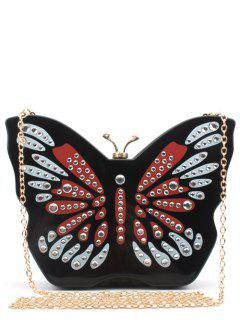 Butterfly Shape Color Splicing Rhinestones Evening Bag - Black