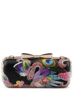 Peacock Feather Chain Floral Print Evening Bag - Black