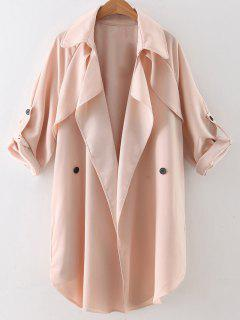 Buttoned Waterfall Trench Coat - Pink L