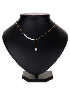 Faux Pearl Y Shape Pendant Necklace - Golden