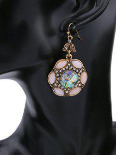 Rhinestone Faux Crystal Drop Earrings - Pink