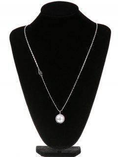 Faux Pearl Necklace Or Sweater Chain - Silver