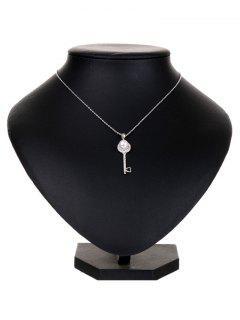 Collar De La Llave De La Perla De Faux Del Rhinestone - Plata