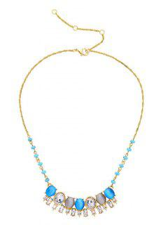 Alloy Artificial Crystal Rhinestone Pendant Necklace - Lake Blue