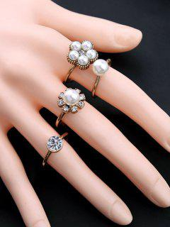Floral Faux Crystal Rhinestone Pearl Rings - White
