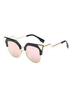Triangle Zigzag Leg Cat Eye Mirrored Sunglasses - Pink