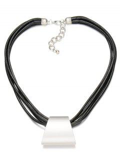 Alloy Multilayered Faux Leather Necklace - Silver