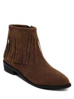 Fringe Flock Zipper Ankle Boots - Deep Brown 38