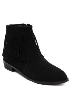 Fringe Flock Zipper Ankle Boots - Black 38